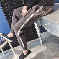 冬季加绒加厚羊羔绒束脚毛绒休闲裤小脚男装长裤子运动裤保暖