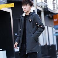 韩版潮流学生中长款羊羔毛外套2018冬装男士棉衣加绒