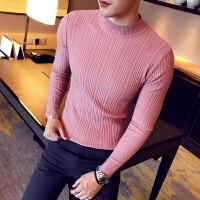 秋冬新款 半高领纯色修身款英伦风时尚长袖针织衫男 打底毛衣