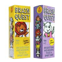 【全店300减100】英文原版Brain Quest 2-5岁 大脑任务 分级阅读2盒 美国学前小学生全科练习推荐阅读