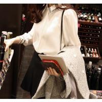2017春季新款女装韩版衬衣潮显瘦打底衫冬季韩范长袖加绒白衬衫女 白色