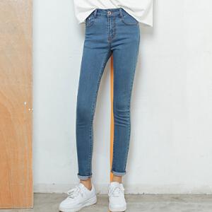 哆哆何伊实拍春季新款韩版长裤修身显瘦紧身弹力铅笔小脚裤牛仔裤女