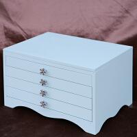 首饰盒木质多层韩国公主欧式饰品收纳盒大容量戒指项链简约整理盒 四层三抽 天空蓝 镜子款