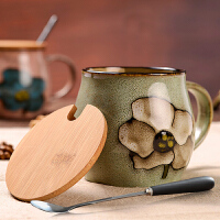 马克杯带盖勺复古陶瓷杯子早餐杯水杯茶杯