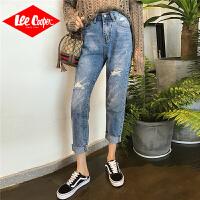 Lee Cooper2019秋季新款chic破洞九分裤直筒牛仔裤女宽松复古女式牛仔裤