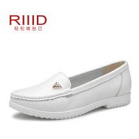 RIIID舒适女鞋春季新款真皮金属豹头拼色平底单鞋
