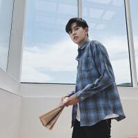 文艺男士衬衣秋季长袖格子衬衫修身韩版潮流帅气薄款休闲外套