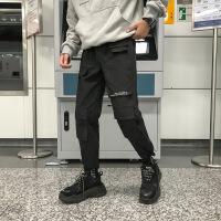 港风chic裤子男韩版潮流潮牌百搭9分休闲裤ins工装裤宽松束脚长裤