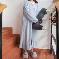 女装韩版家居服休闲加绒连衣裙秋冬季睡衣长袖中长款裙子学生可爱