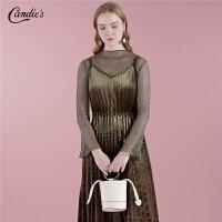 【满399减80】法国小众中长裙套装秋冬季新款吊带高腰两件套金丝绒连衣裙女