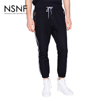 NSNF撞色织带黑色男士长裤休闲裤 2017年新款男士休闲裤 潮牌男裤