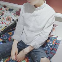 春秋韩版亚麻白衬衫男长袖立领修身日系复古棉麻休闲打底衬衣