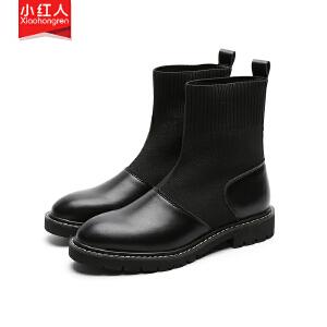 小红人【年终狂欢】2018新款PU加绒短靴女鞋子低跟粗跟秋冬英伦套脚短筒靴百搭女靴子5718