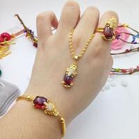 新款欧币饰品手环可调节镀金仿沙金貔貅手链女款