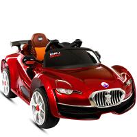 儿童电动车四轮小孩汽车带遥控宝宝玩具车可坐人1-3-5岁充电瓶车 烤漆酒红色一键安装 双电双驱带摇摆