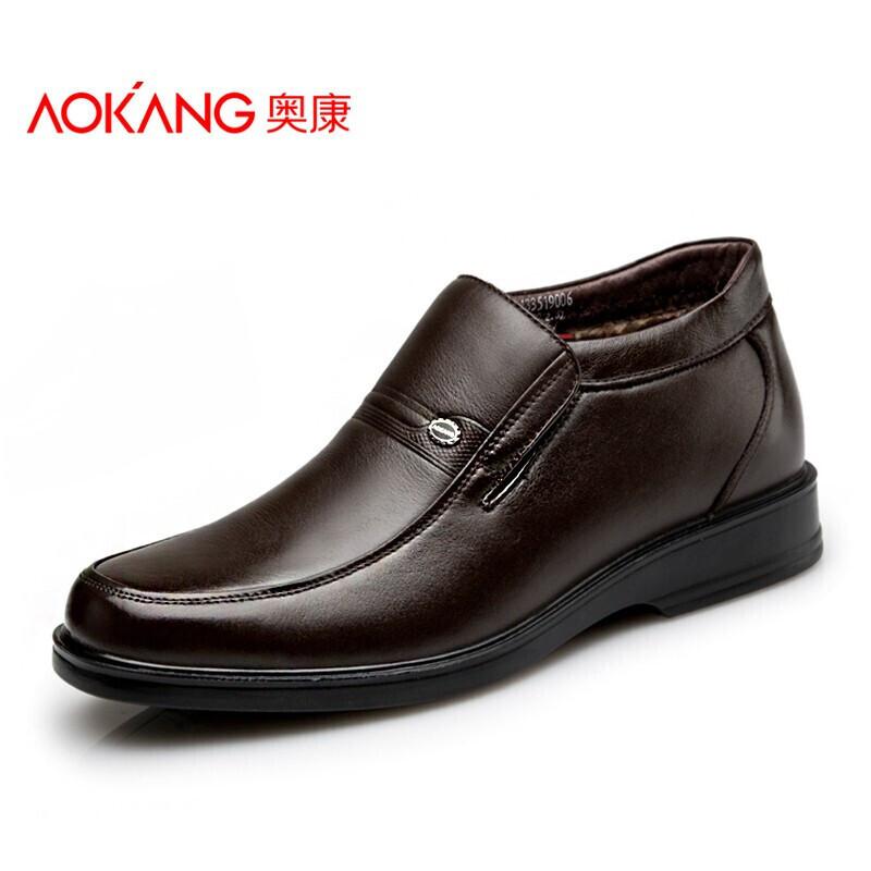 奥康棉鞋皮鞋套脚男士棉皮鞋真皮冬季加绒高帮皮棉鞋商务保暖男鞋
