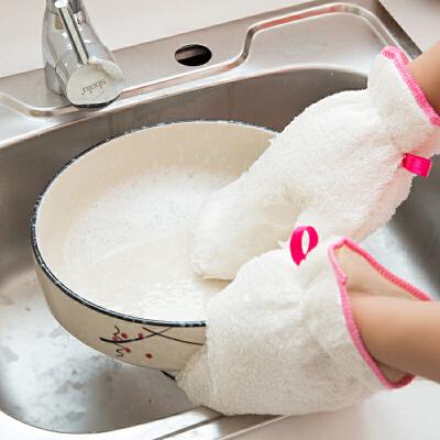 泰蜜熊2只装2018新款多功能洗碗手套加绒加厚防烫防水不沾油家务清洁薄款厨房家用刷碗耐用竹纤维神器女 支持积分抵现