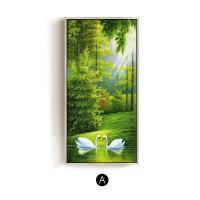 天鹅湖欧式玄关装饰画竖版风景画壁画现代油画楼梯过道走廊挂画SN1943 90*180cm 单幅价格