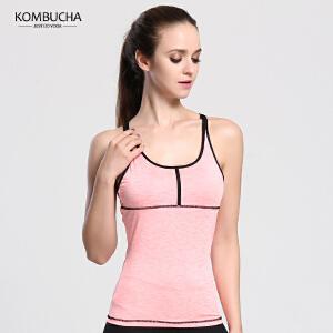 【满100减50/满200减100】Kombucha瑜伽健身背心女士速干透气交叉美背细肩带背心健身跑步运动背心K0104