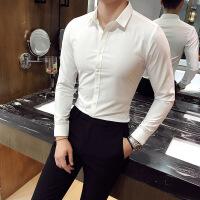 春秋季男士长袖衬衫青年修身时尚寸衣韩版休闲正装发型师衬衫