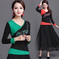 中国风春装新款女装上衣民族风刺绣长袖t恤女修身大码纯棉打底衫