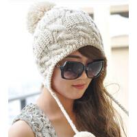 韩版女秋冬季新款保暖黑/白/米色可爱针织帽 潮毛线帽子