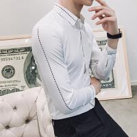 春季韩版修身男士休闲职业长袖衬衫潮个性夜店发型师时尚寸衣