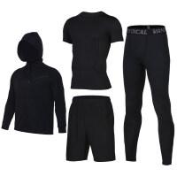 运动套装男跑步透气训练服秋冬季健身房长袖健身四件套马拉松运动服