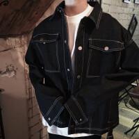 新款秋装短外套 韩版时尚多口袋拼接潮男廓形牛仔夹克