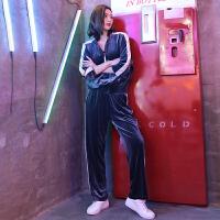 2019春秋新薄款天鹅女套装时尚宽松休闲气质运动服两件套潮