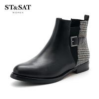 星期六(ST&SAT)冬季专柜同款复古格子牛皮革/织物平底短靴SS84118830