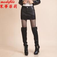 茉蒂菲莉 裙裤 女士秋冬新款时尚女装休闲百搭学生半身A字女式高腰皮裙子