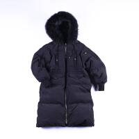 新款中长款加厚白鸭绒羽绒服女连帽真毛领修身外套夹克