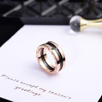 日韩版钛钢镀玫瑰金带钻情侣戒指男女款食指环时尚百搭配饰品