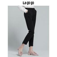 【清仓3折价107.7】Lagogo/拉谷谷2019冬季新款时尚女个性宽松休闲厚裤子HCKK53XC62