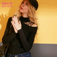 妖精的口袋冬装新款镂空高领打底衫修身纯色套头毛衣女