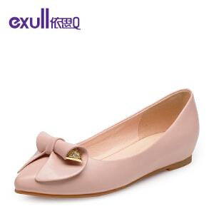 依思q秋季新款蝴蝶结可爱粗低跟鞋舒适套脚单鞋女鞋-