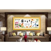 十字绣成品家和万事兴富贵吉祥仙鹤荷花版纯手工绣好的客厅装饰画