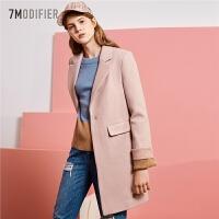 拉夏贝尔韩版长袖毛呢外套女冬季新款中长款呢子大衣潮显瘦学生外衣