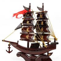 一帆风顺龙船开业乔迁办公商务创意礼品 红木帆船模型工艺品摆件