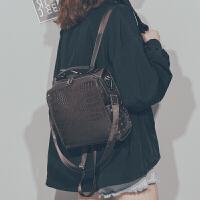 kuansen[2019秋季新款]港风复古鳄鱼纹双肩包女2019新款时尚休闲百搭ins风小背包旅行包