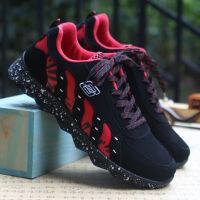 夏季男鞋休闲鞋男板鞋透气网鞋男士运动鞋网面学生旅跑步鞋游鞋韩版帆布鞋子男 YJ-C420 黑红色