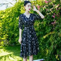 夏季新品韩版女装修身显瘦碎花雪纺连衣裙中裙海边度假沙滩裙 图片色XZB661
