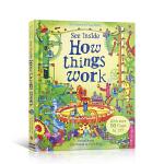 顺丰发货 英文原版 See Inside How Things Work 偷偷看里面系列之机械的运转 儿童英语启蒙早教