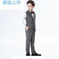 儿童礼服男英伦小西装套装马甲花童男孩钢琴演出服男童表演童装秋