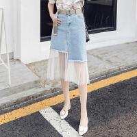 2018夏季新款韩版网纱拼接牛仔半身裙女百搭学生高腰中长款裙子潮 浅蓝色
