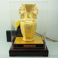 绒沙金花瓶送朋友简约创意客厅现代时尚摆件家居摆设装饰定制礼品