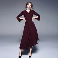 欧美女装早秋新款性感V前开扣喇叭袖修身不规则长款连衣裙