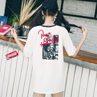 慈姑春季女装新款韩版原宿风中长款短袖上衣学生显瘦小心机印花T恤 潮 白色