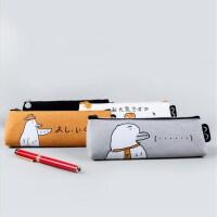 麦和MH1702-224阿鸭鸭三角笔袋黄色创意文具帆布笔盒文具袋韩式风格大中小学生幼儿园男女孩办公开学用品收纳文具存储